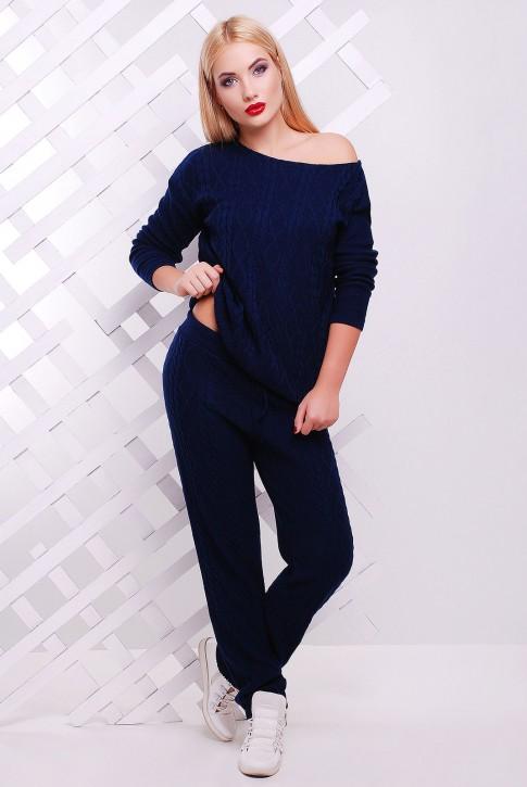 Теплый вязаный костюм темно-синего цвета - SK0006
