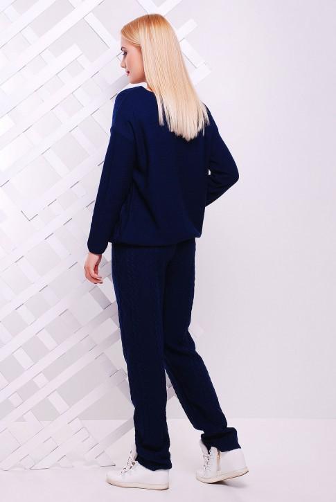 Теплый вязаный костюм темно-синего цвета - SK0006 (фото 2)