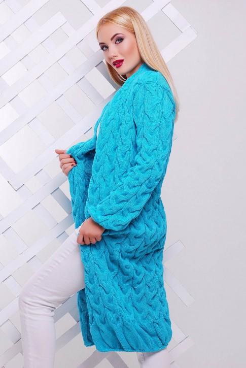 Мятный длинный женский кардиган Лало VKD0006 (фото 2)