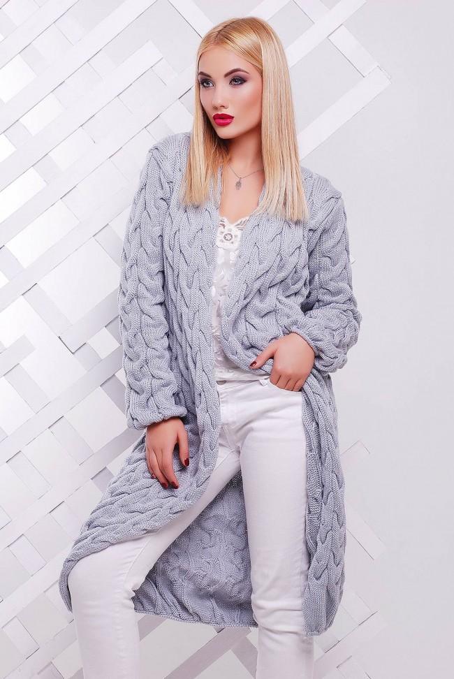 Светло-серый женский кардиган лало - VKD0010