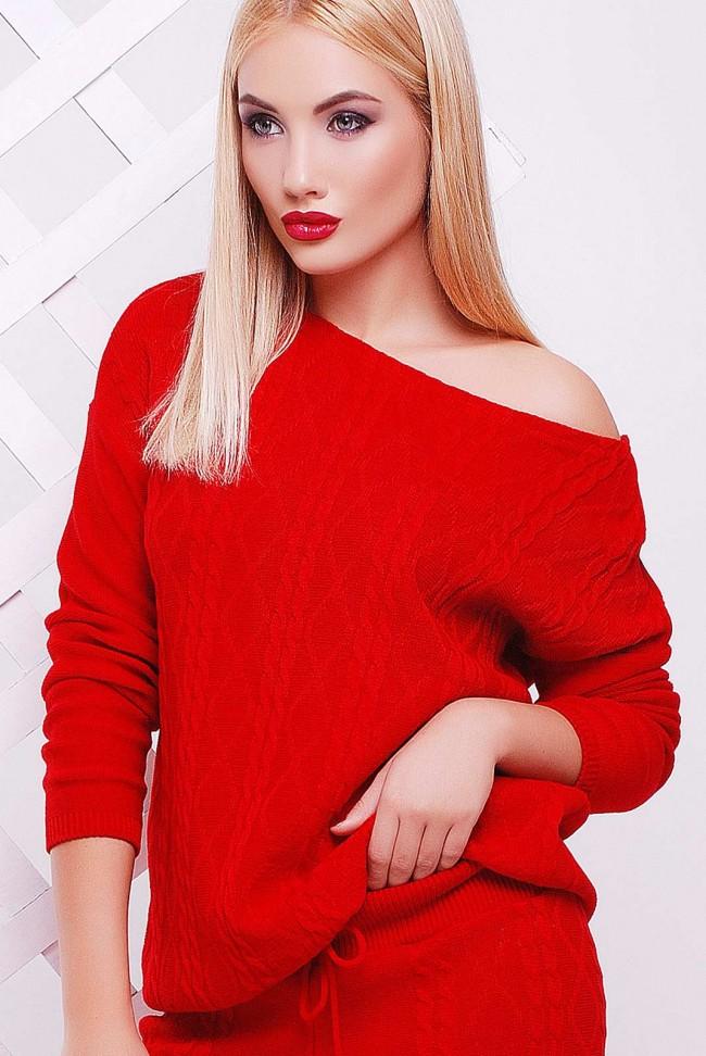 "Красный вязаный свитер ""LILI"" SVV0005"