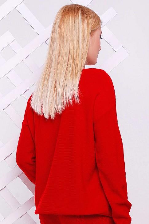 """Красный вязаный свитер """"LILI"""" SVV0005 (фото 2)"""
