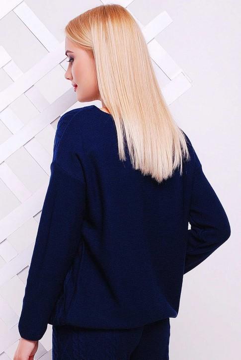 """Темно-синий вязаный свитер """"LILI"""" SVV0006 (фото 2)"""
