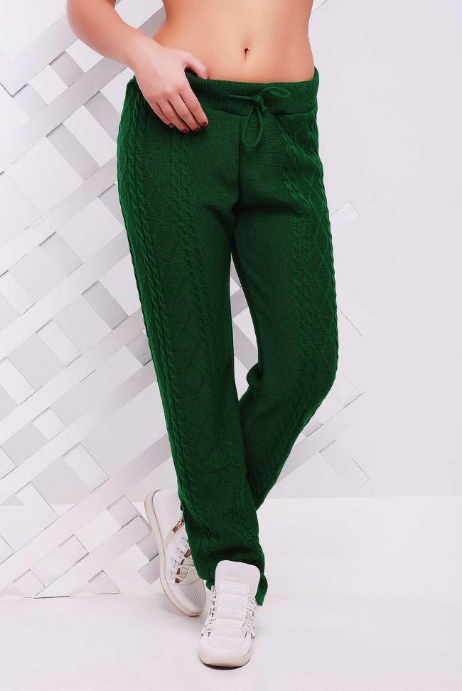 Стильные зеленые штаны из вязаного трикотажа - SHV0003