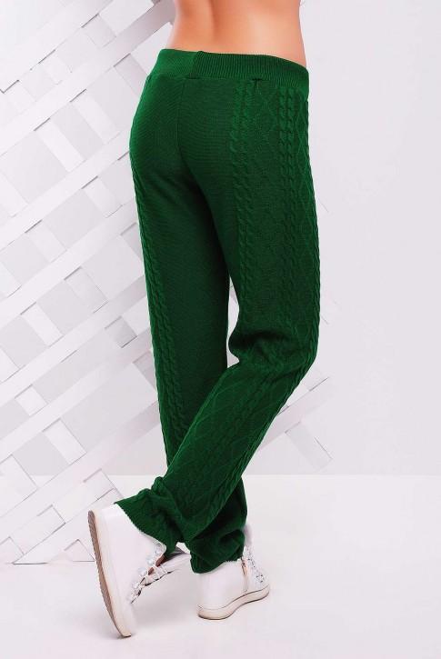 Стильные зеленые штаны из вязаного трикотажа - SHV0003 (фото 2)