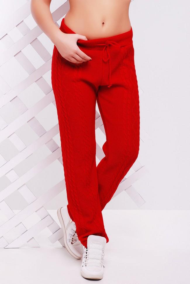 Стильные вязаные штаны красного цвета - SHV0005