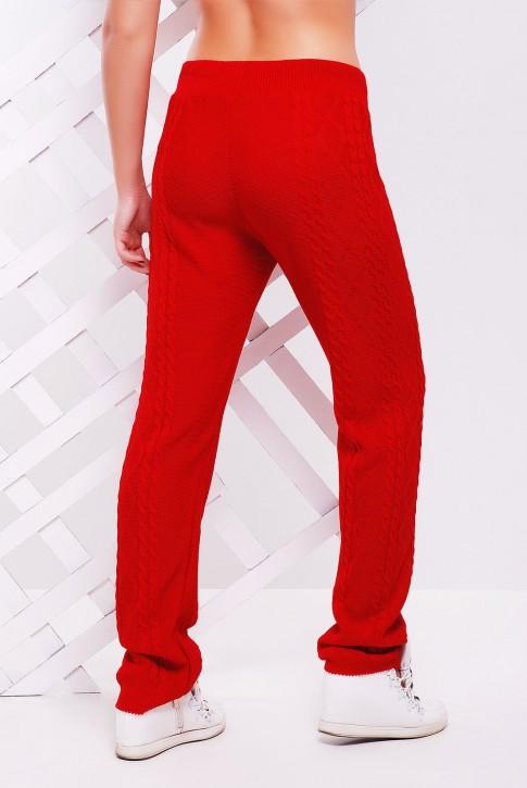 Стильные вязаные штаны красного цвета - SHV0005 (фото 2)