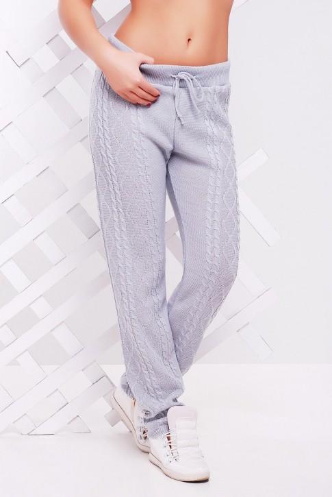 Вязаные штаны светло-серого цвета для холодной погоды - SHV0007