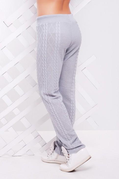 Вязаные штаны светло-серого цвета для холодной погоды - SHV0007 (фото 2)
