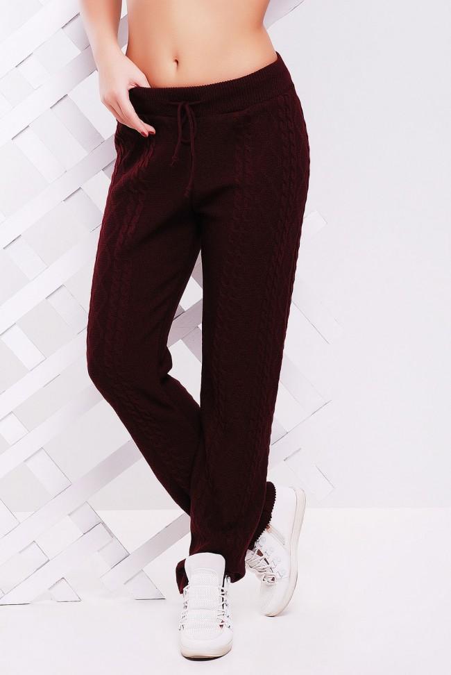 Вязаные штаны со шнурком женские, цвет марсала - SHV0010