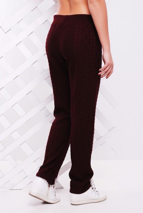 Вязаные штаны со шнурком женские, цвет марсала - SHV0010 (фото 2)