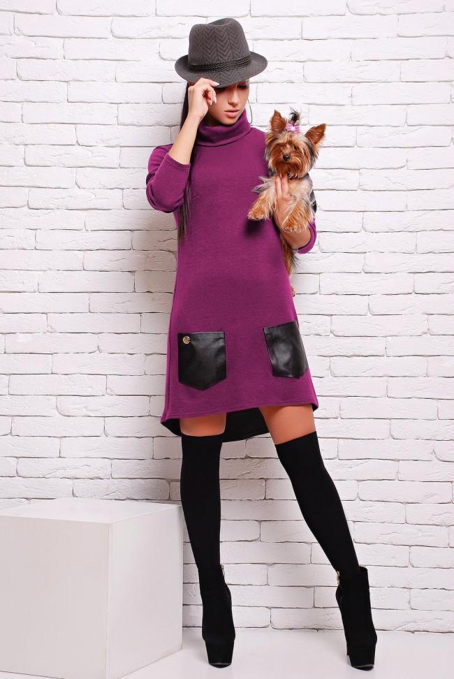 Теплое сиреневое платье из ангоры - PL-1280H
