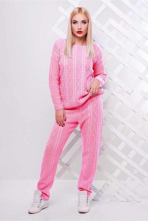 Вязаный костюм светло-розовый женский - SKV0011