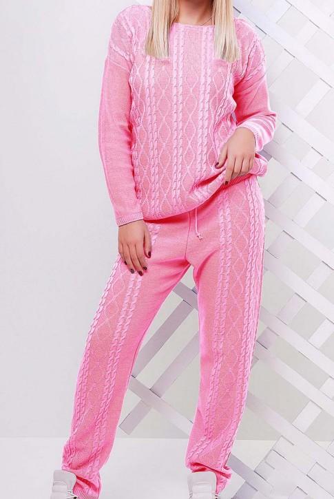 Вязаный костюм светло-розовый женский - SKV0011 (фото 2)
