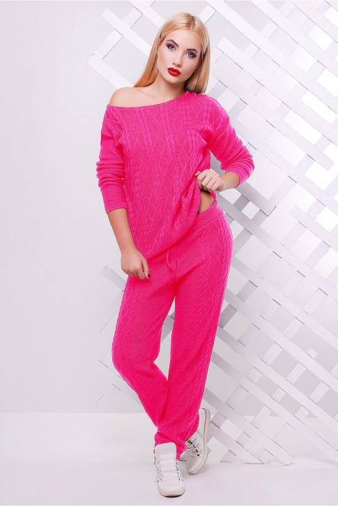 Вязаный молодежный костюм ярко розового цвета - SKV0012