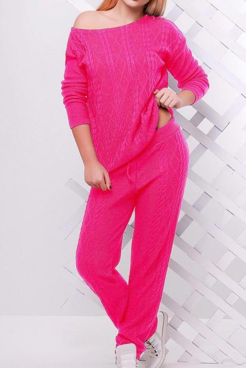 Вязаный молодежный костюм ярко розового цвета - SKV0012 (фото 2)