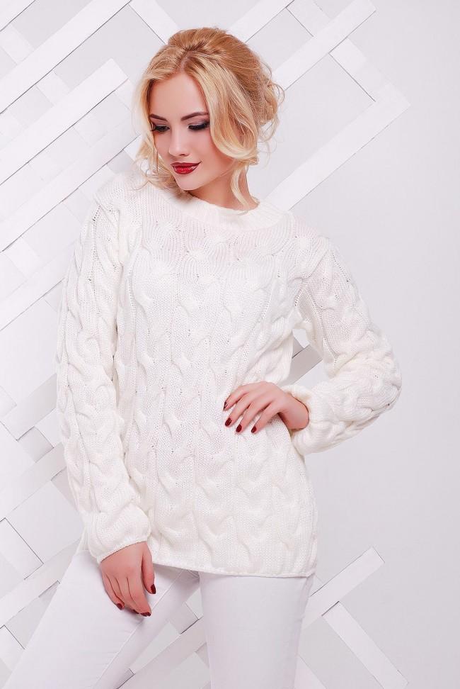 """Белый вязаный свитер женский по оптовой цене - """"LOLO"""" SVV0015"""