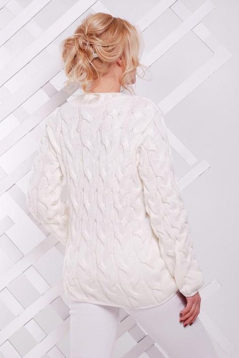 """Белый вязаный свитер женский по оптовой цене - """"LOLO"""" SVV0015 (фото 2)"""