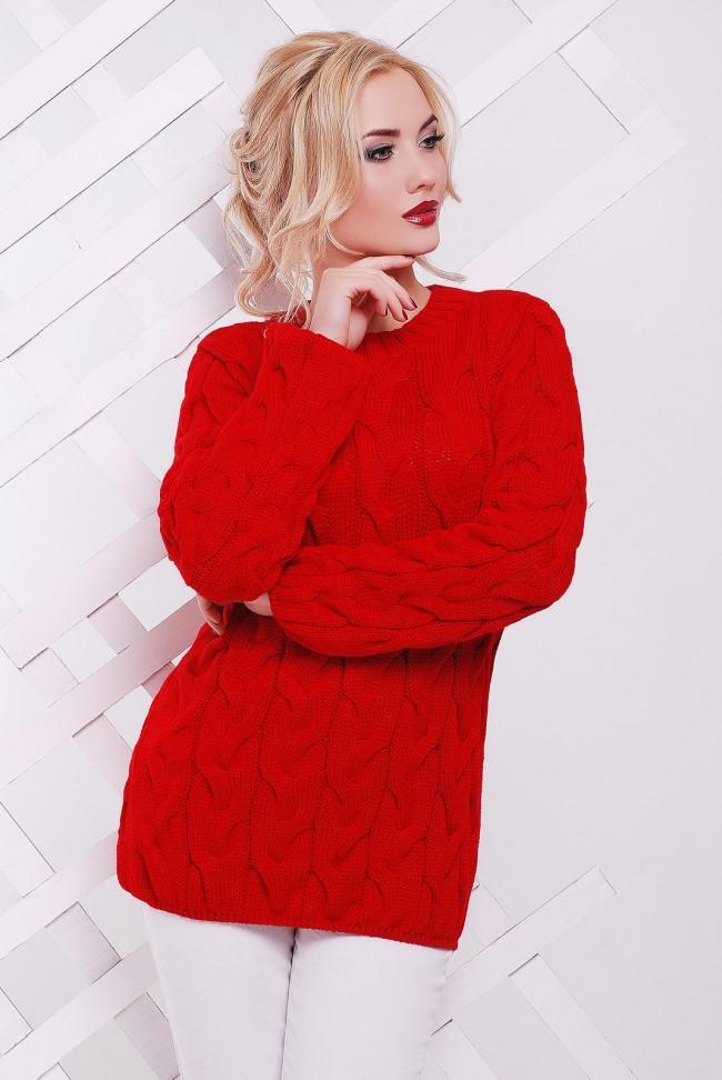 "Красный свитер женский фото - ""LOLO"" SVV0016"