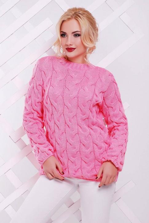 """Светло-розовый женский свитер с узором косы - """"LOLO"""" SVV0021"""