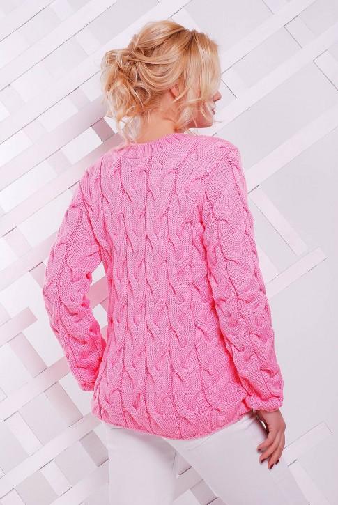 """Светло-розовый женский свитер с узором косы - """"LOLO"""" SVV0021 (фото 2)"""