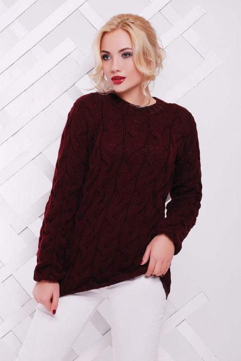 """Вязаный женский свитер цвета марсала """"LOLO"""" SVV0022"""