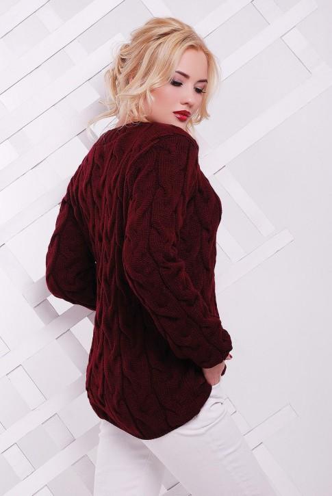 "Вязаный женский свитер цвета марсала ""LOLO"" SVV0022 (фото 2)"
