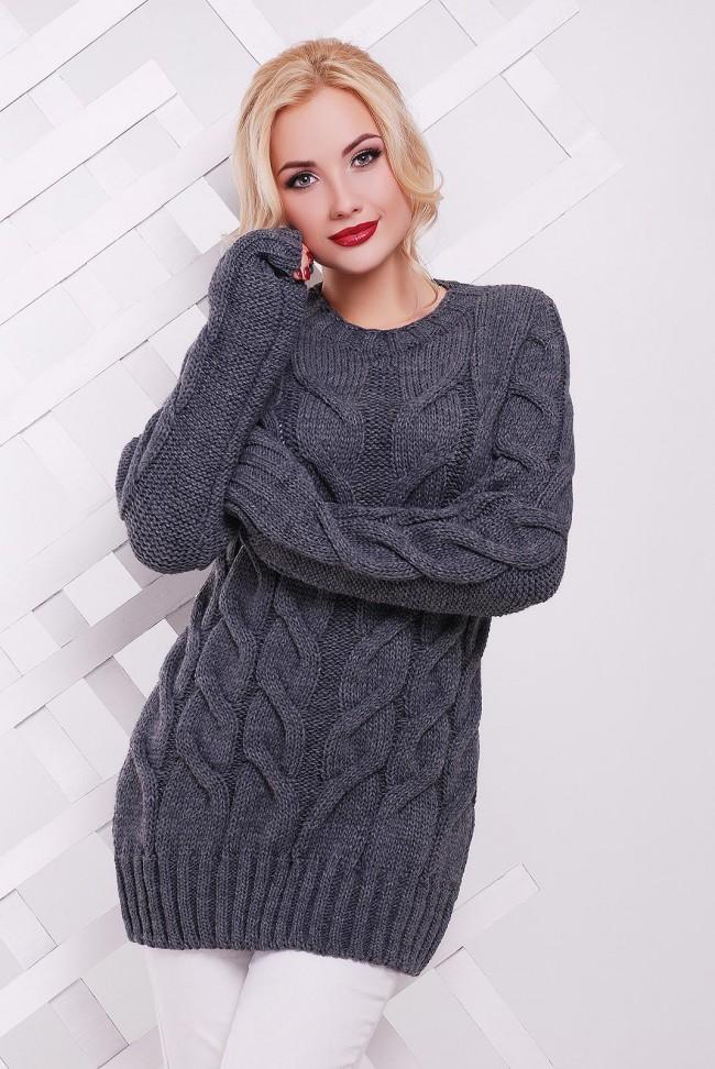 Вязаный удлиненный свитер графитового цвета - SVV0026