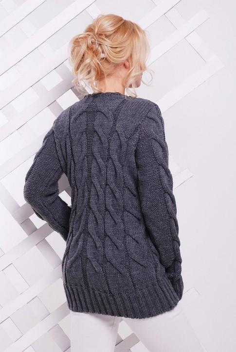 Вязаный удлиненный свитер графитового цвета - SVV0026 (фото 2)