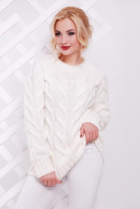 Белый удлиненный свитер с узором косы - SVV0027