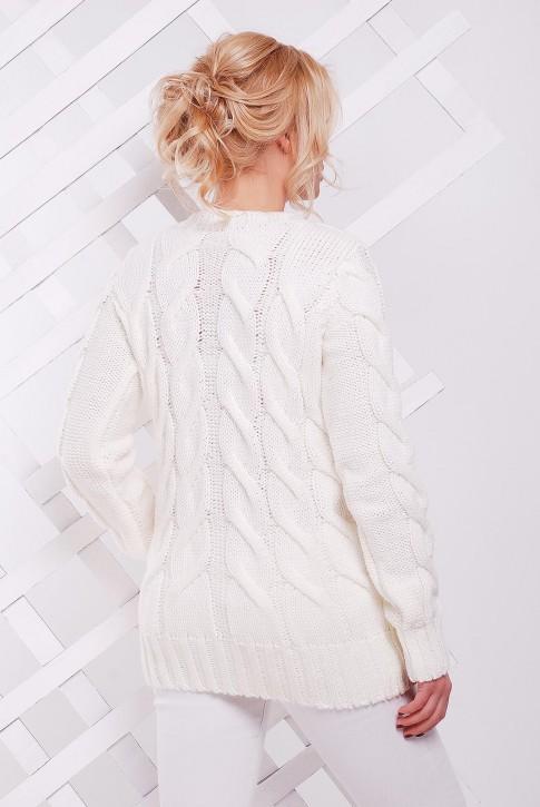 Белый удлиненный свитер с узором косы - SVV0027 (фото 2)