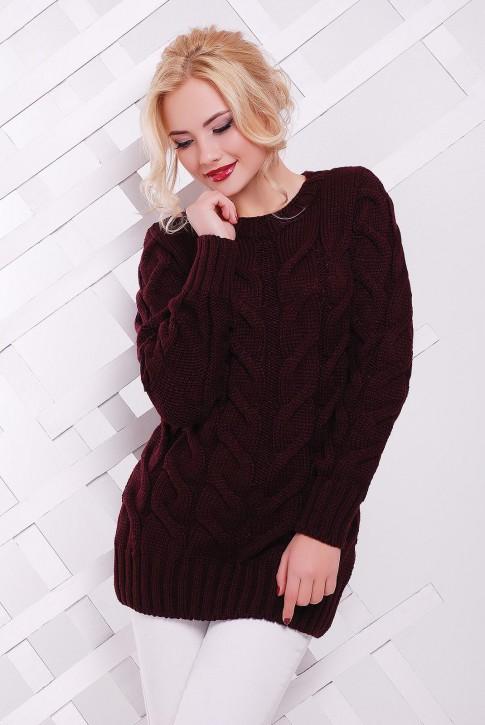 Длинный вязаный свитер женский, цвет марсала