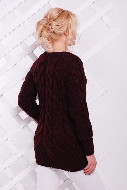 Длинный вязаный свитер женский, цвет марсала (фото 2)