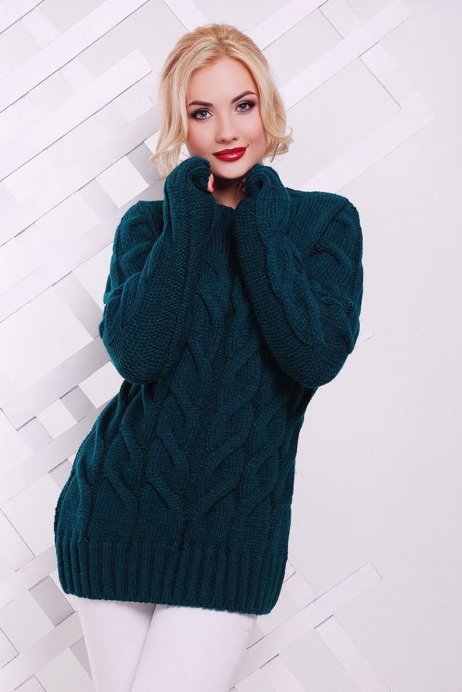 Популярный удлиненный зеленый свитер - SVV0030