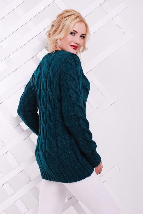 Популярный удлиненный зеленый свитер - SVV0030 (фото 2)