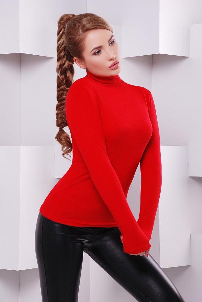 Женский гольф водолазка красного цвета - KF-1391C