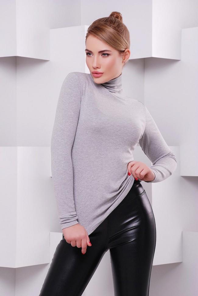 Классическая женская водолазка гольф меланжевого серого цвета - KF-1391E