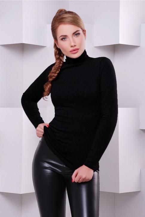 """Классическая женская черная водолазка - гольф """"Bono"""" KF-1391F"""