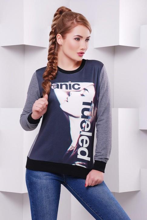 Стильный женский свитшот с черно-белым принтом - KF-1403C