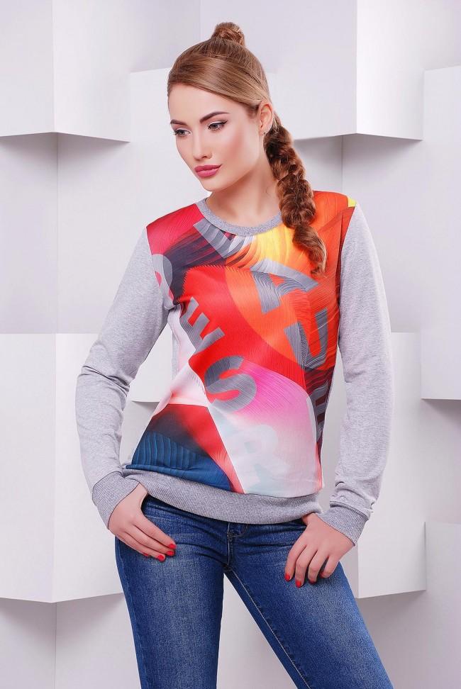 Оригинальный женский свитшот с красочной абстракцией - KF-1405C