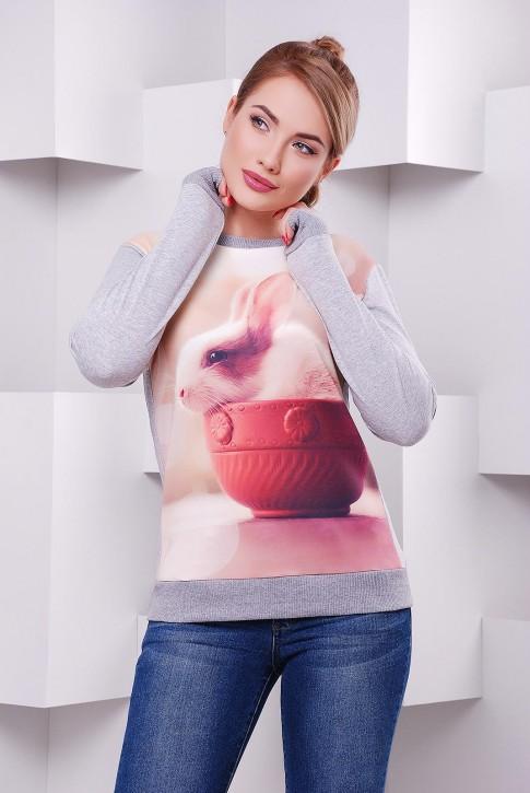 Модный женский свитшот с пушистым кроликом - KF-1408C