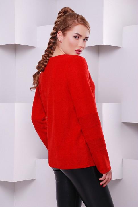 Красная женская кофта Milan из теплой ангоры с начесом - KF-1401E (фото 2)