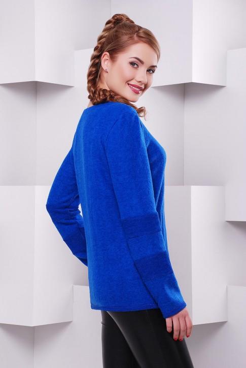 Женская теплая кофта из ангоры с начесом цвет электрик - KF-1401D (фото 2)