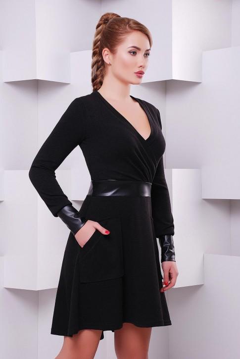 Черное платье с запахом и длинными рукавами по оптовой цене PL-1396B