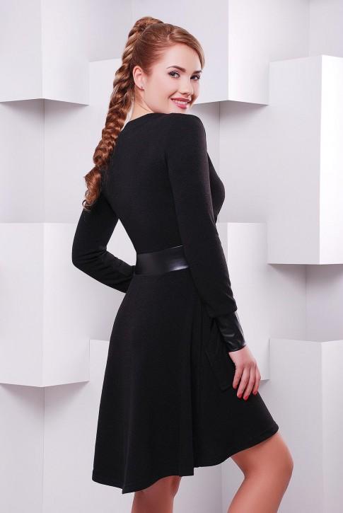 Черное платье с запахом и длинными рукавами по оптовой цене PL-1396B (фото 2)