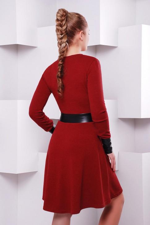 Платье длины миди цвета бордо (марсала) с запахом PL-1396C (фото 2)