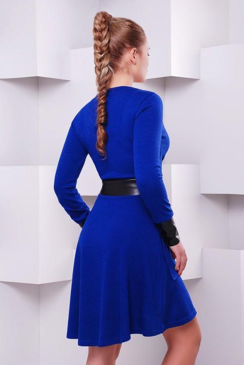 Приталенное платье с запахом цвет синий электрик PL-1396D (фото 2)