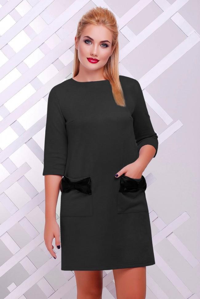 Темно-серое платье с бантиками PL-1351B
