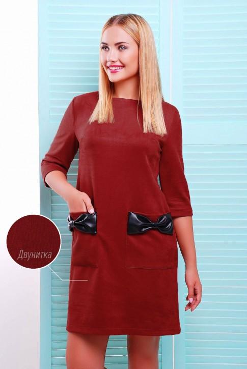 Платье с бантиками цвета марсала PL-1351D