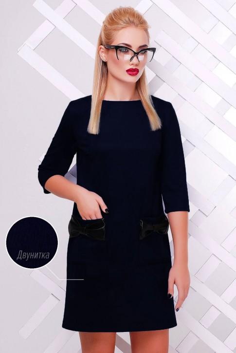 Темно-синее платье с бантиками PL-1351E